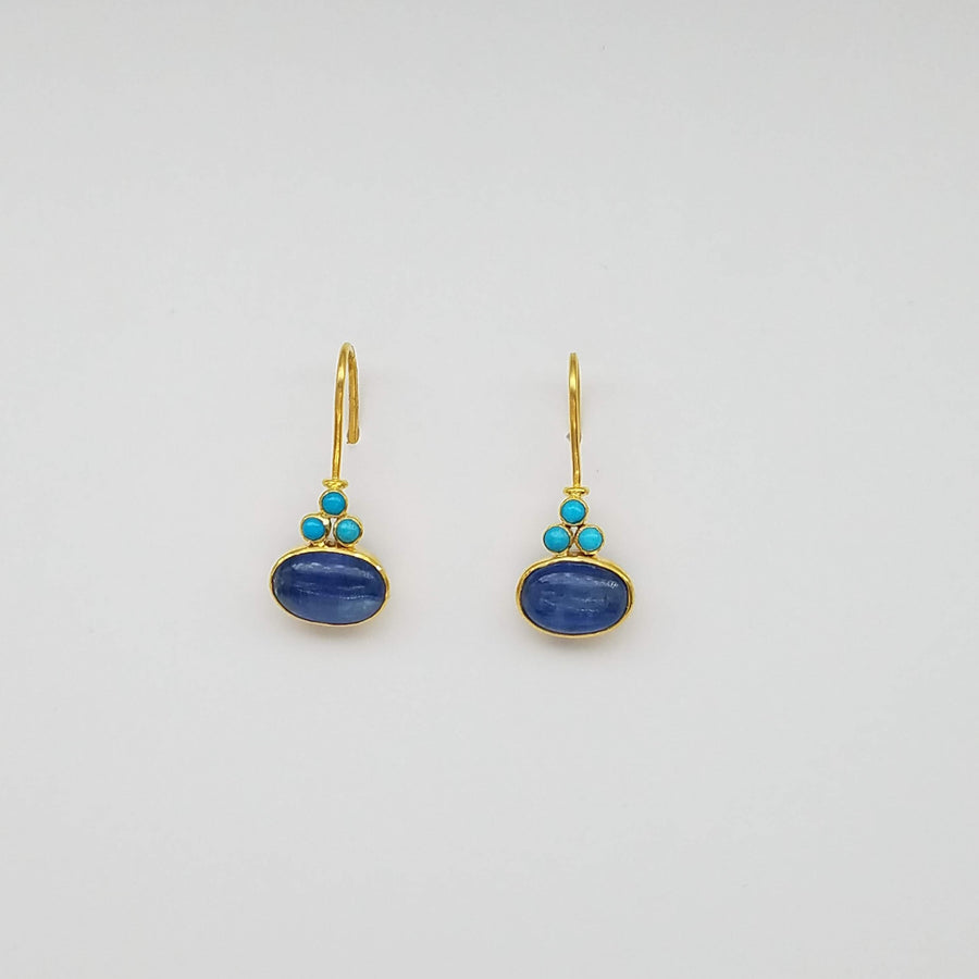 TURQUOISE KYANITE GOLD EARRINGS