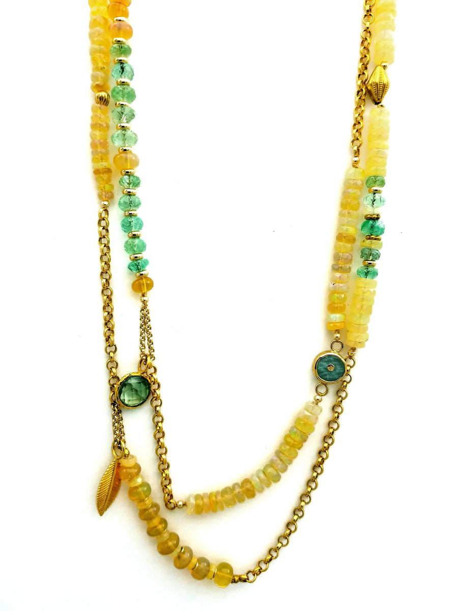 OPAL EMERALD LONG NECKLACE SONIA TONKIN