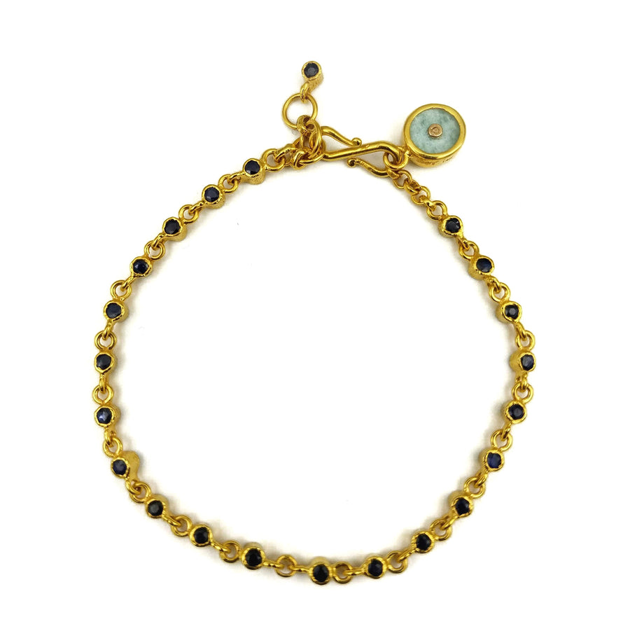 DIAMOND SHAPPHIRE GOLD BRACELET