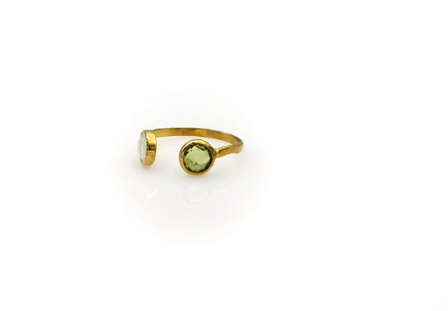 PERIDOT MOONSTONE OPEN RING SONIA TONKIN