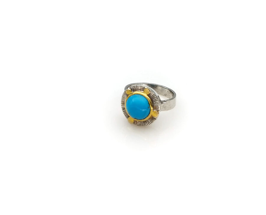 TURQUOISE GOLD DOTS RING SONIA TONKIN