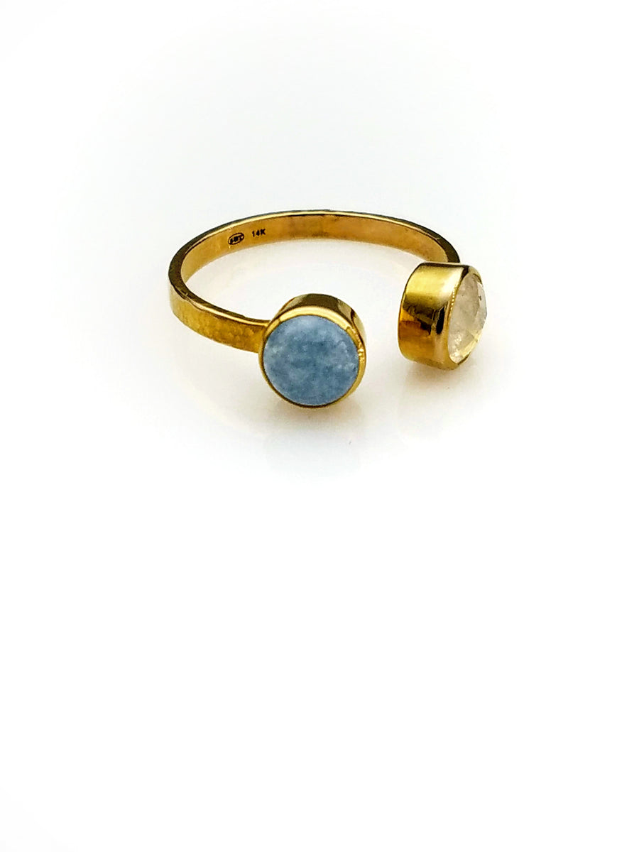 MOONSTONE CHALCEDONY OPEN RING