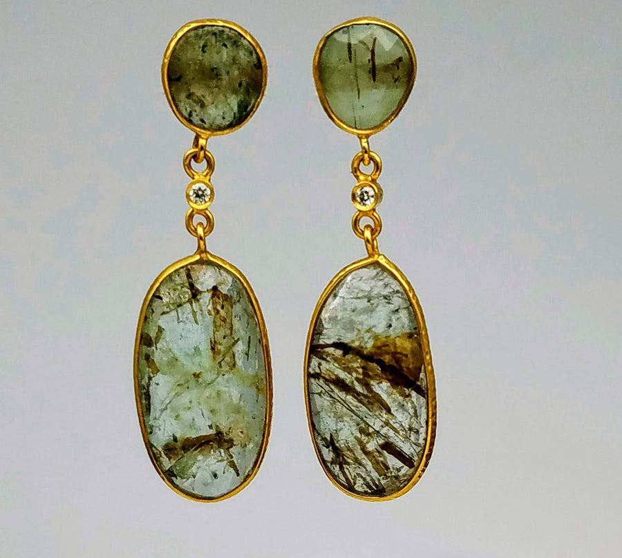 GREEN BERYL DIAMOND GOLD EARRINGS SONIA TONKIN