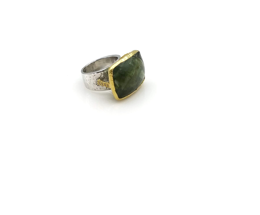 GREEN TOURMALINE DIAMONDS RING