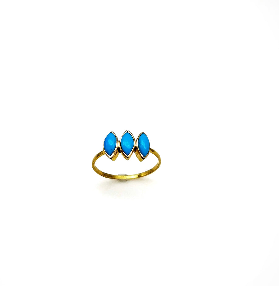 DIAMOND SHAPE TURQUOISE RING SONIA TONKIN