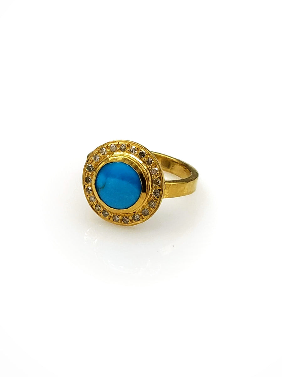 TURQUOISE DIAMONDS RING SONIA TONKIN