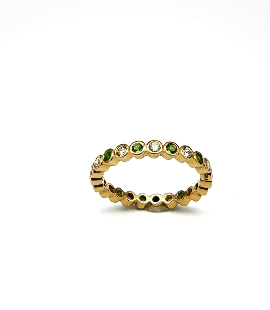 DIAMOND TSAVORITE GOLD RING
