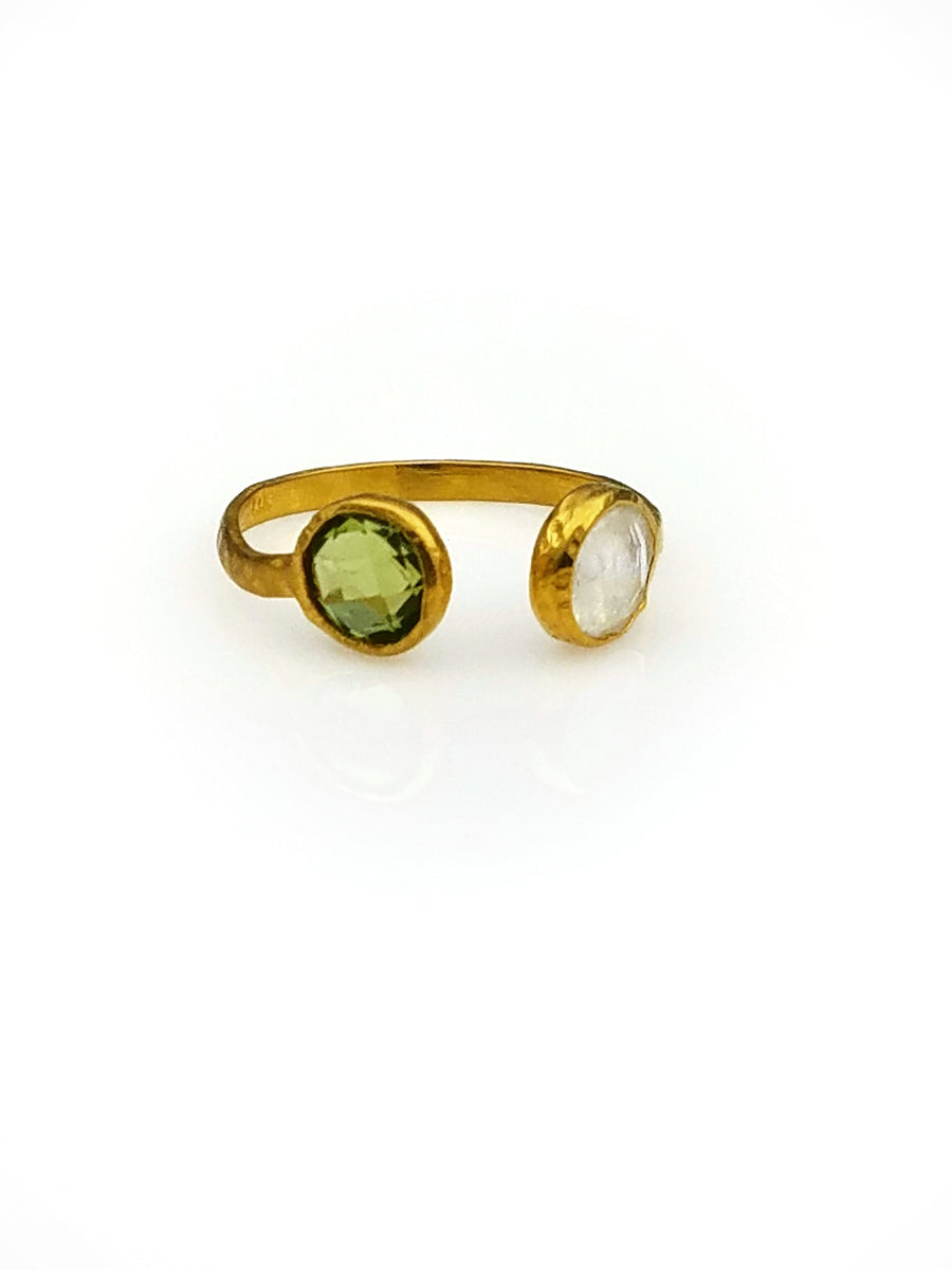 PERIDOT MOONSTONE OPEN RING