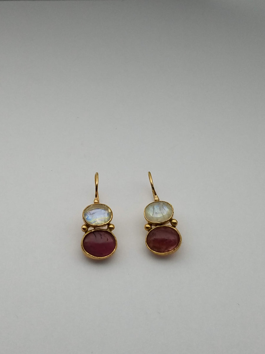 AQUAMARINE TOURMALINE GOLD EARRINGS SONIA TONKIN