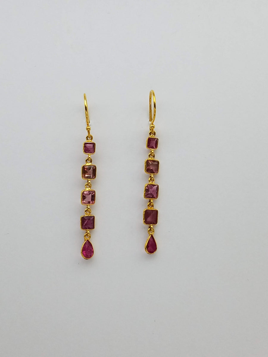 PINK TOURMALINE GOLD EARRINGS SONIA TONKIN