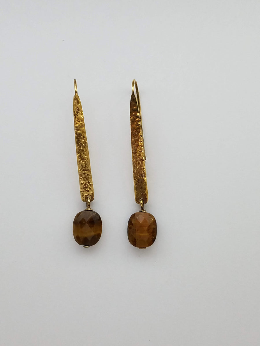 TIGER EYE HAMMERED GOLD EARRINGS