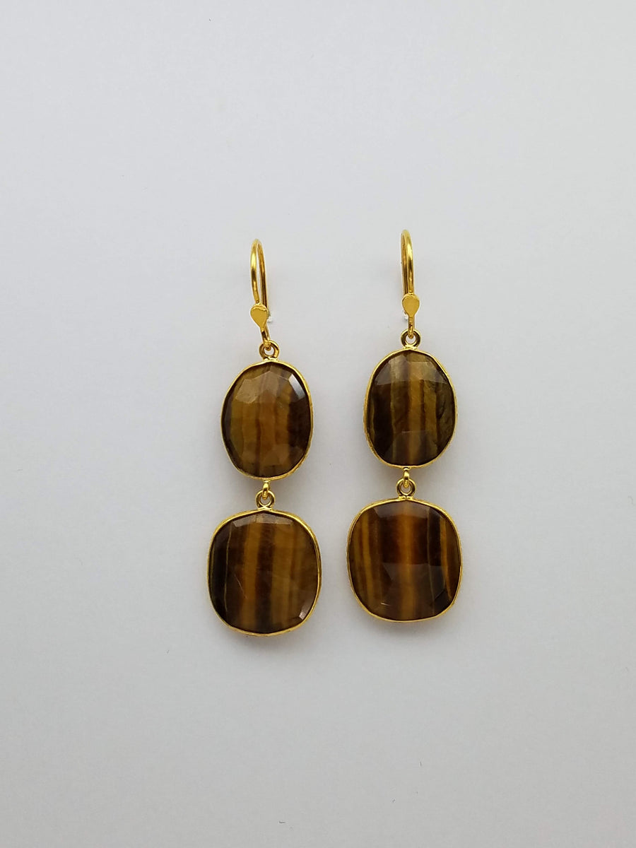TIGER EYES GOLD EARRINGS
