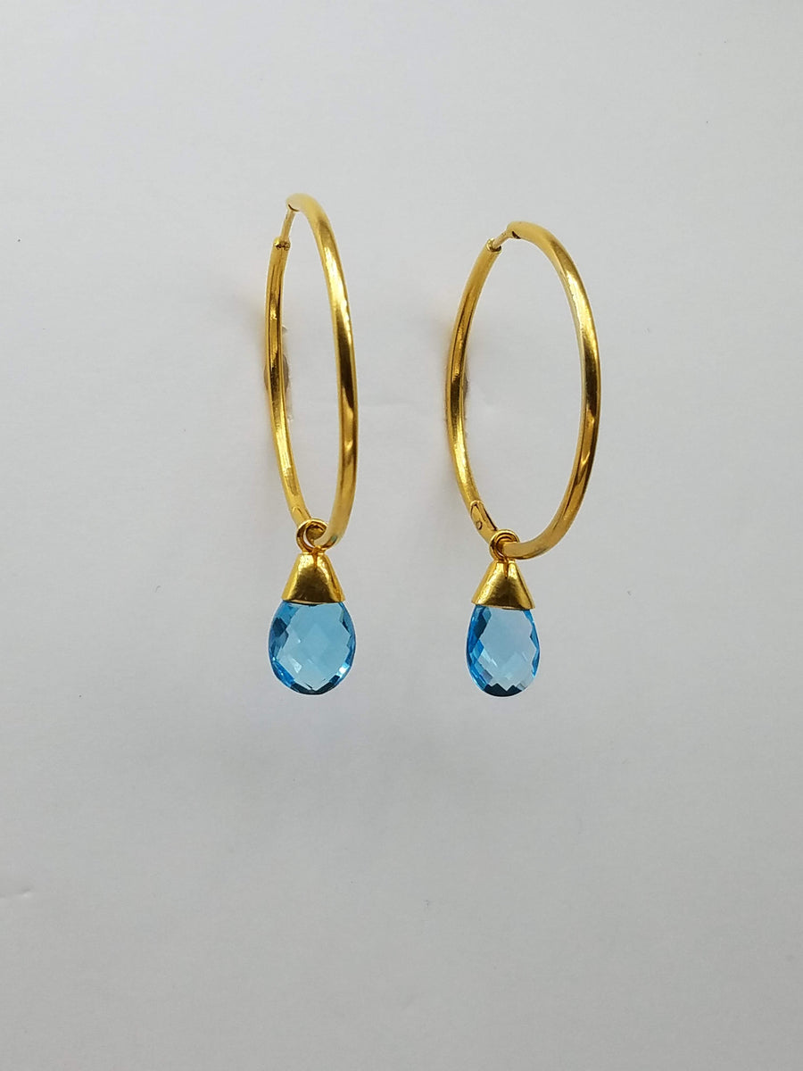 BLUE TOPAZ GOLD EARRINGS SONIA TONKIN