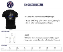 Load image into Gallery viewer, $35 Donation - K-9 Duke T-Shirt Unisex