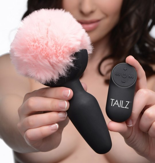 luving-my-fashions,Remote Control Vibrating Pink Bunny Tail Anal Plug