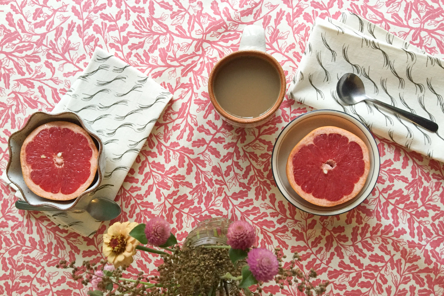 Tablescape roundup with handprinted textiles