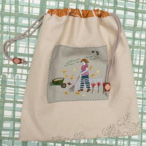 Embroidered Drawstring Bag