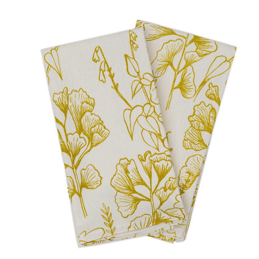 Napkin Set: Ginkgo in Yarrow