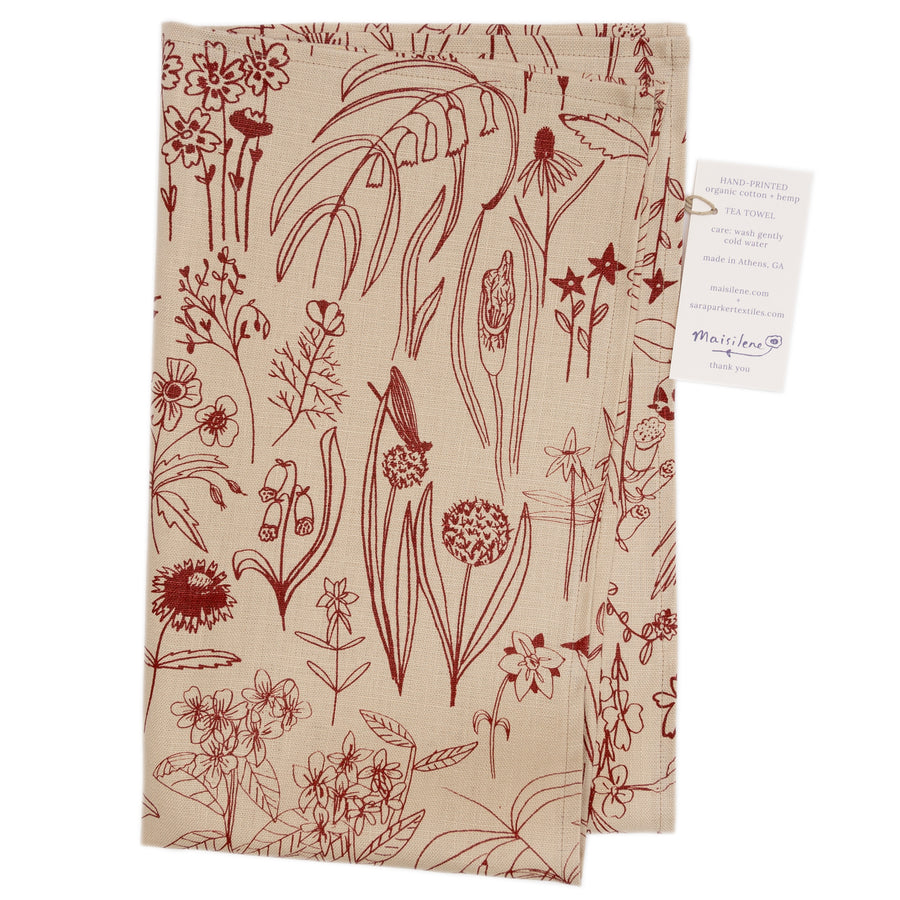 Tea Towel: Meadowlark on linen