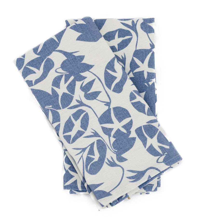 Napkin Set: Morning Glory in Denim