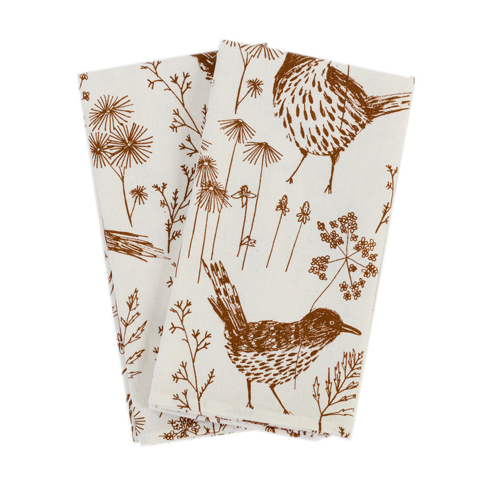 Napkin Set: Brown Thrasher in Clay