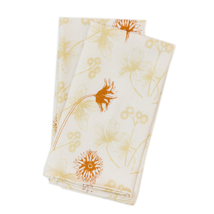 Napkin Set: Spring Flowers in Wheat and Terracotta