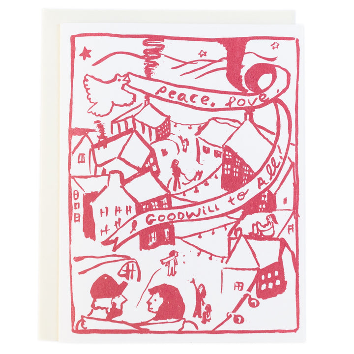 Screenprinted Greeting Card Holiday: Peace, Love + Goodwill