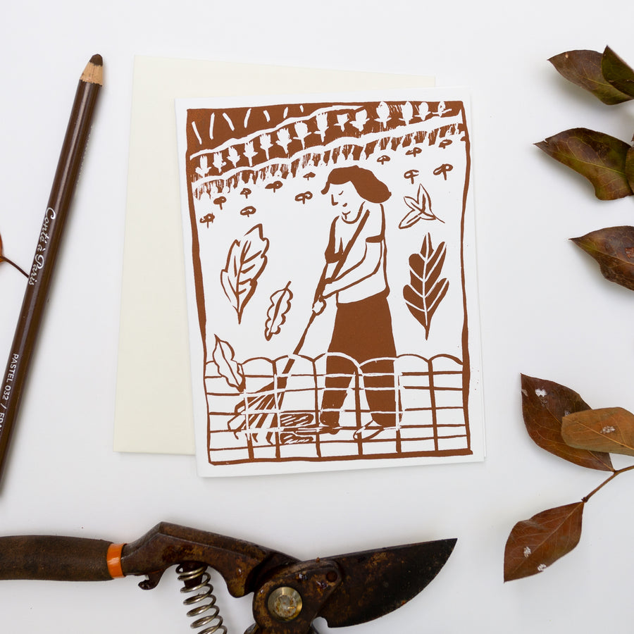 Screenprinted Greeting Card: Raking Leaves