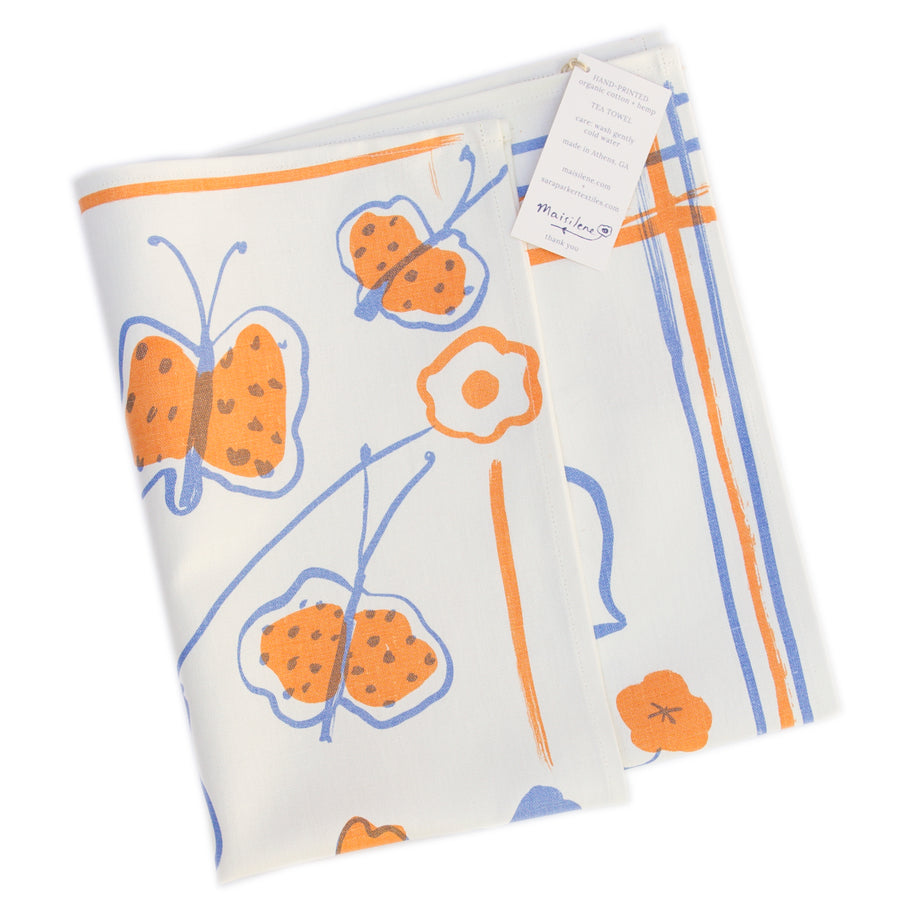Tea Towel: Butterfly in Coral