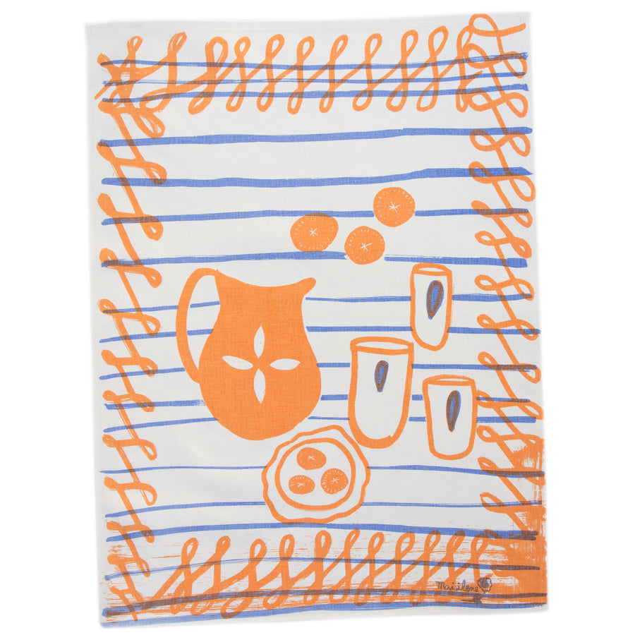 Tea Towel: Snack Table in Coral
