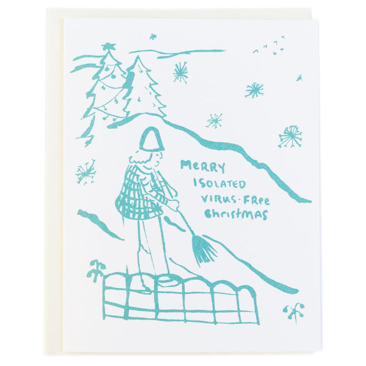 Screenprinted Greeting Card Holiday: Isolated Christmas