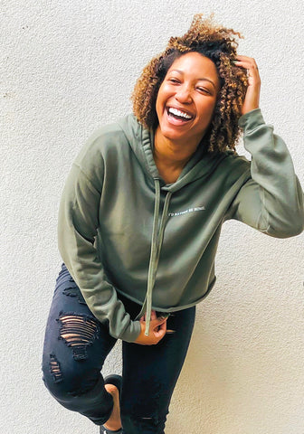 VIGOUR. Clothing Owner Breezy Sharp in I'd Rather Be Home Crop Hoodie