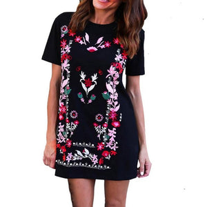 Floral Printed Women Short Sleeve Casual Loose Short Mini Dress European style ladies summer vestido High Quality - FashionDone