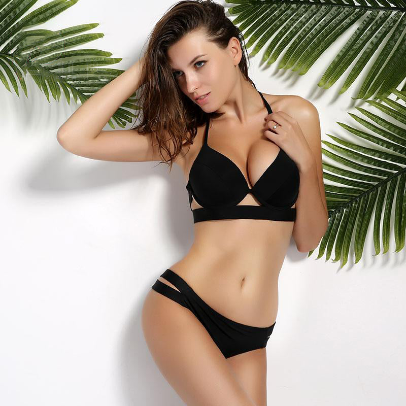 ENHANCE™ - Low Waist Push Up Halter Bikini - FashionDone