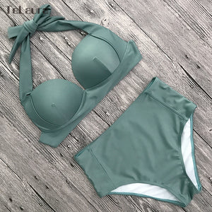 CONFIDENT™ - High Waist Push Up Halter Bikini - FashionDone