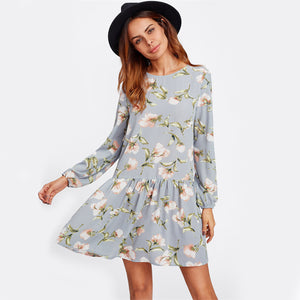 SHEIN Allover Flower Print Drop Waist A Line Grey Long Sleeve Round Neck Cut Out Back Floral Cute Dress - FashionDone