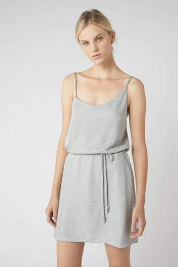 Asymmetrical Metallic Mini Dress / Silver