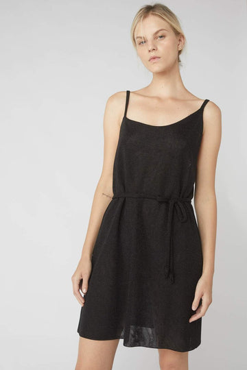 Asymmetrical Metallic Mini Dress / Black
