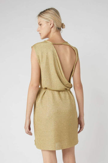 Collapse Back Metallic Mini Dress / Gold