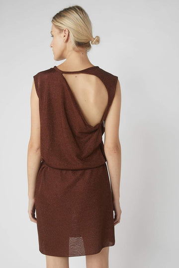 Collapse Back Metallic Mini Dress / Brass