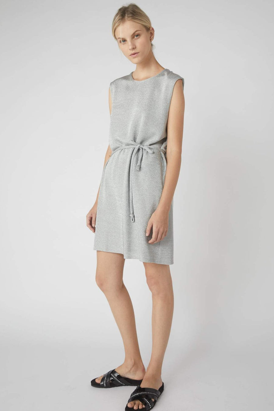 Collapse Back Metallic Mini Dress / Silver