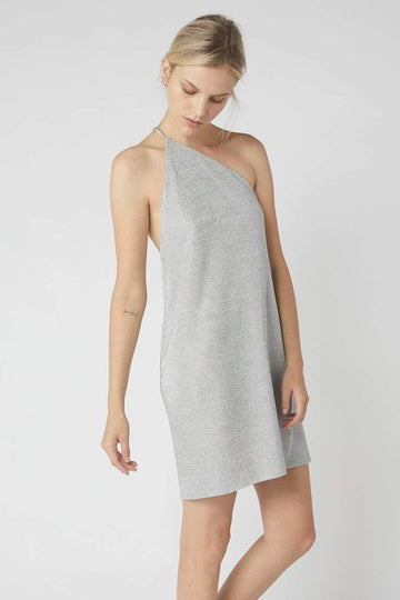 One Symmetrical Metallic Mini Dress / Silver