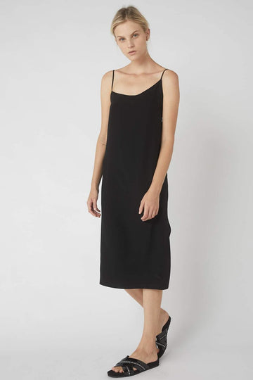 Asymmetrical Midi Wrap Dress / Black