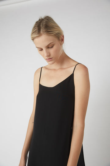 Asymmetrical Full Wrap Dress / Black