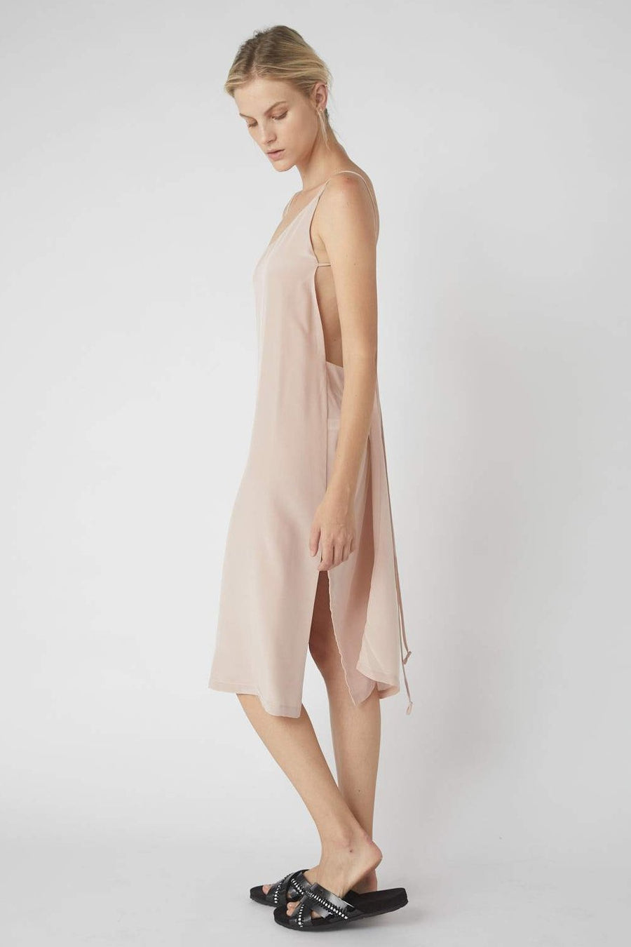 Asymmetrical Midi Wrap Dress / Millennial Pink