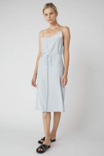 Asymmetrical Midi Wrap Dress / Powder Blue