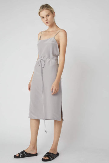 Asymmetrical Midi Wrap Dress / Dove Grey