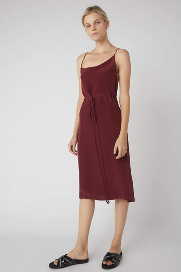 Asymmetrical Midi Wrap Dress / Merlot