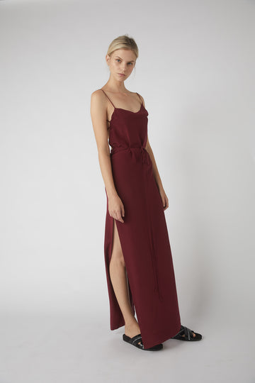 Asymmetrical Full Wrap Dress / Merlot