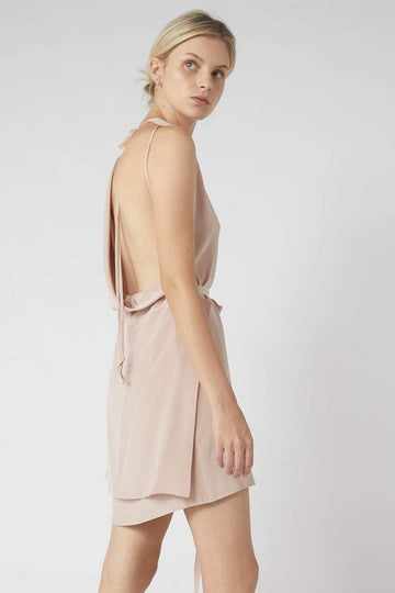 Deconstructed Collapse Back Mini Dress / Millennial Pink